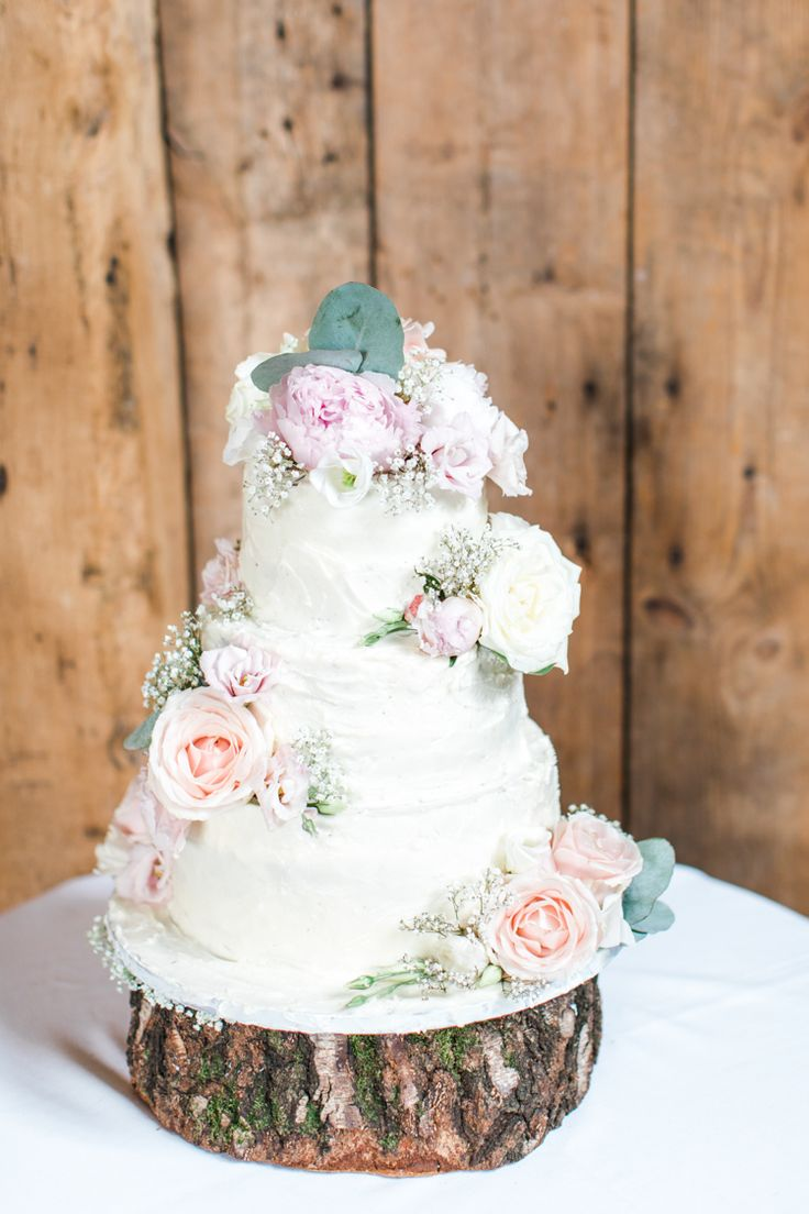Buttercream Cake Flowers Log Stand Rustic Pastels Gold Pretty Summer Barn Wedding http://summerlilystudio.com/