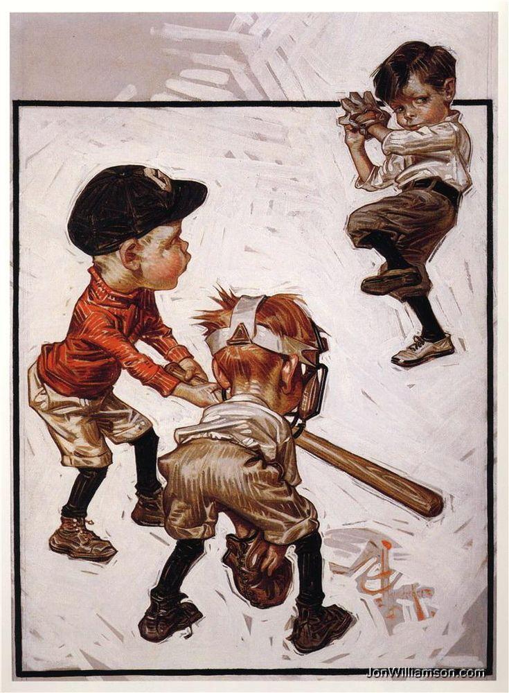 J.C. Leyendecker - JC Leyendecker - Boys Playing Baseball (1915)