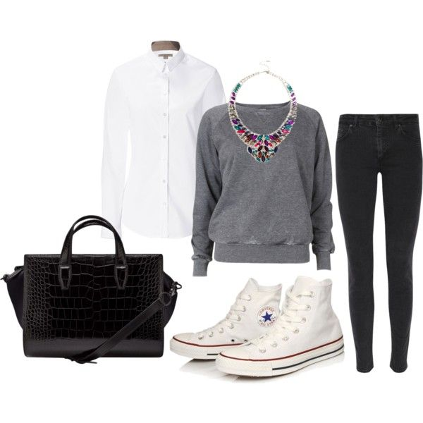 q by jnsn on Polyvore featuring polyvore, moda, style, Burberry, VILA, Acne Studios, Converse and Alexander Wang