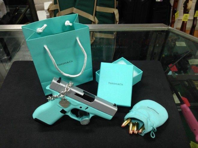 Tiffany blue Glock with Tiffany & Co. accessories.