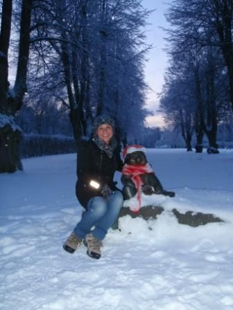 Ida with WWF bear chilling in the Swedish snow