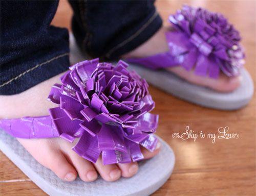 Flip Flop Idea:  Duct Tape Flowers Tutorial.