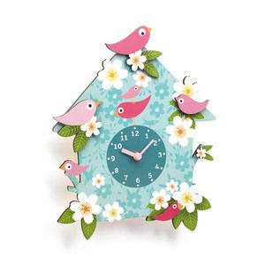 Horloge murale forme coucou oiseau fleur bleu 26x31cm JADE
