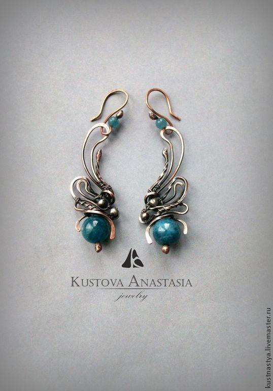 "Серьги wire wrap ""Blue butterfly"" - Кустова Анастасия  Wire Wrap art - Ярмарка Мастеров http://www.livemaster.ru/item/8551837-ukrasheniya-sergi-wire-wrap-blue-butterfly"