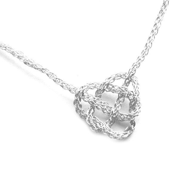 Silver necklace CELTIC heart knot - crochet wire jewelry, celtic knot