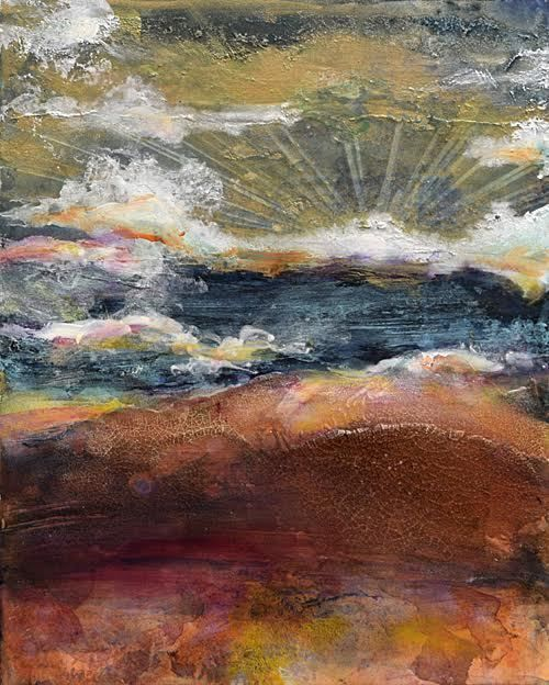 "Abstract Artists International: Abstract Contemporary Mixed Media Art Painting ""CLOUDS"" by Santa Fe Contemporary Artist Sandra Duran Wilson"