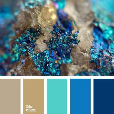 Sandy and brown create a contrast in combination with a bright blue and shades of dark blue. This palette is perfect for decoration of living room and dini