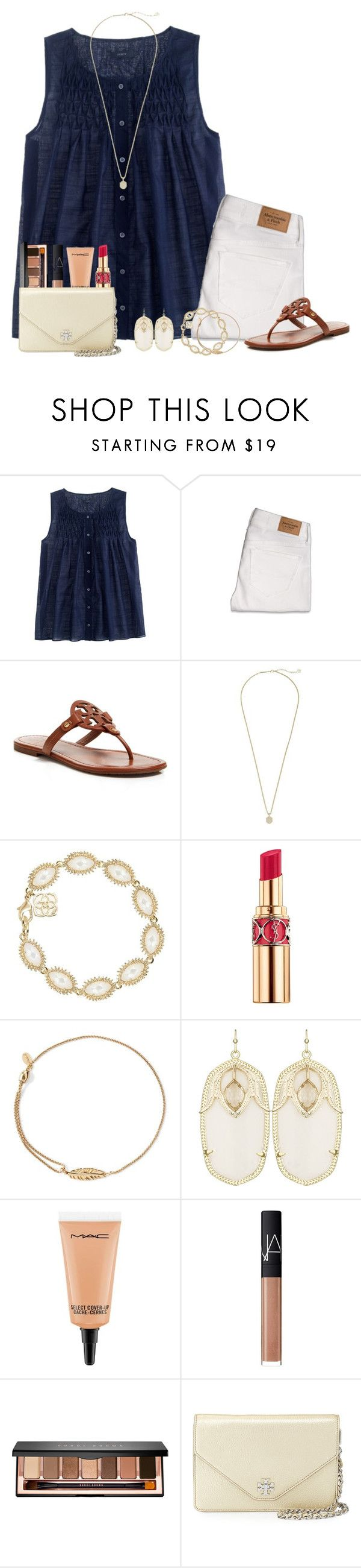 """""""summer dinner outfit"""" by lilypackard ❤ liked on Polyvore featuring J.Crew, Abercrombie & Fitch, Tory Burch, Kendra Scott, Yves Saint Laurent, Alex and Ani, MAC Cosmetics, NARS Cosmetics and Bobbi Brown Cosmetics"""