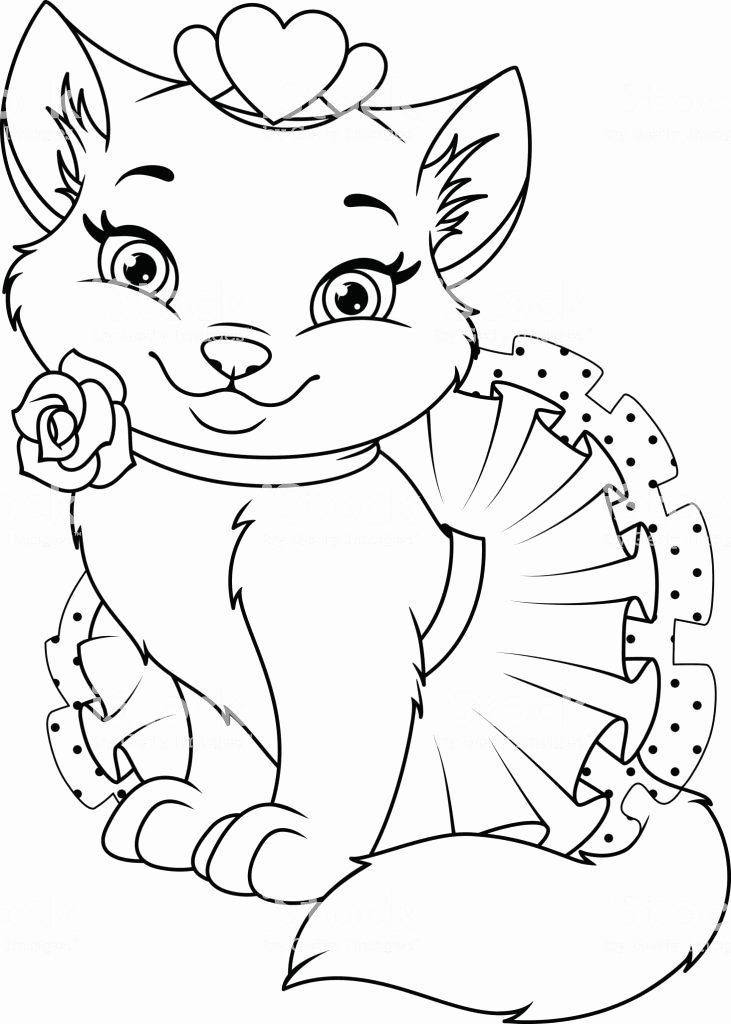 Disney Animal Coloring Pages Unique Cat Princess Coloring Page Stock Illustration Download Cat Coloring Page Animal Coloring Pages Cute Coloring Pages