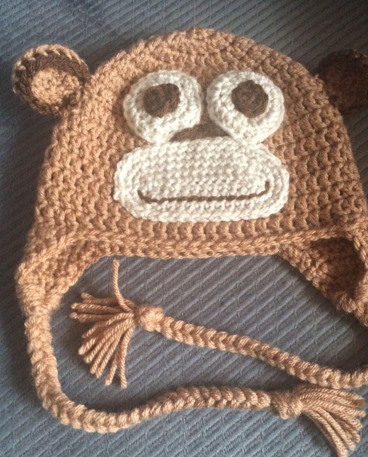 CUSTOM MONKEY HAT,All Sizes Available.Crochet Hat,Baby Monkey Hat,Winter Hat,WinterEar Flap Hat,Adult,Child,Monkey Hat, Monkey EarFlap Hat by ArtfullyCreated4U on Etsy