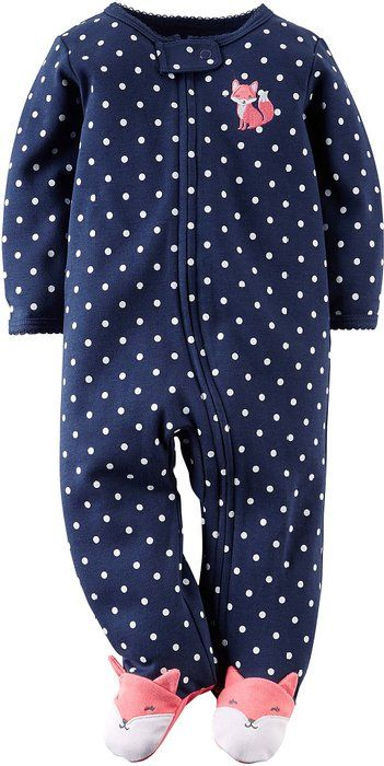 Carters Baby Girls Fox Zip Up Sleep & Play Newborn Navy blue/white