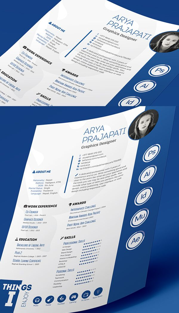 indesign resume template free professional cvresume and cover letter psd templates