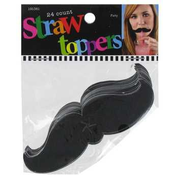 Black Mustache Straw Toppers                                                                                                                                                      More