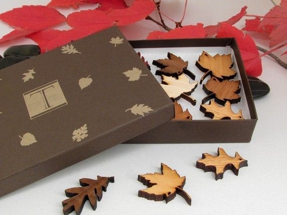 Mini Wood Leaf Ornament Gift Box Set of 12 - Sustainable Harvest Wisconsin Wood . Timber Green Woods