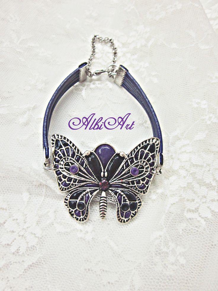 Pulsera mariposa arcilla polimérica morada y negra