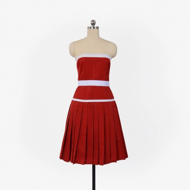 Dolce & Gabana Red cotton blend strapless dress with pleated skirt.