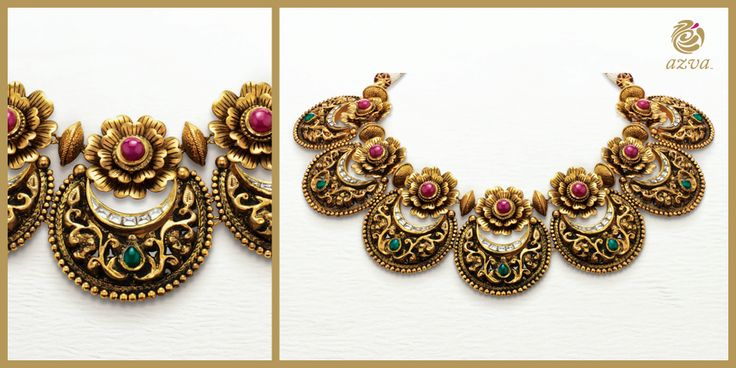 The craftsmen at #Azva have used 22k gold with a unique antique gold finish to create this extraordinary piece. #DetailsInGold #BridalGold #WeddingVows #Jewellery