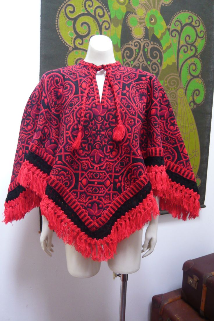 Vintage Tapestry Poncho Cape TRIBAL fringed tassels red purple black by NeonPonyAustralia on Etsy
