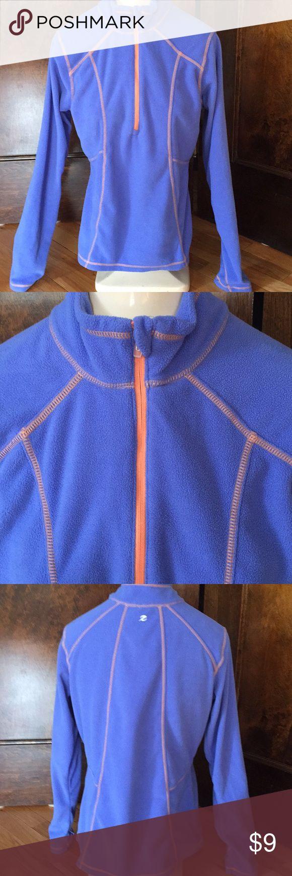 Cornflower blue/orange topstitch fleece, 1/4 zip M Coneflower blue long sleeve fleece top with orange top stitching on multiple panels and hemlines. Orange 1/4 zipper. Stand- up collar. Very soft and comfy. Size medium. Excellent condition. Nonsmoking home. Tops Sweatshirts & Hoodies