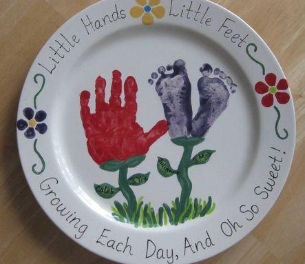 Handprint footprint platter i made at a paint your own for Handprint ceramic plate ideas