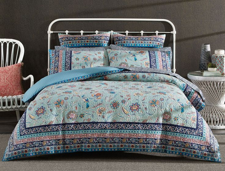 Adorned with a beautiful mix of Indian-chintz floral designs and a charming colour palette, the Rimona quilt cover will effortlessly complement any bedroom. Printed on cotton and quilted, this stylish quilt cover is finished with a decorative border.