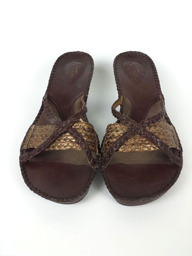 Clarks Artisan Brown Leather Slip On Comfort Wedge Heels Sandals Shoe 8.5 M