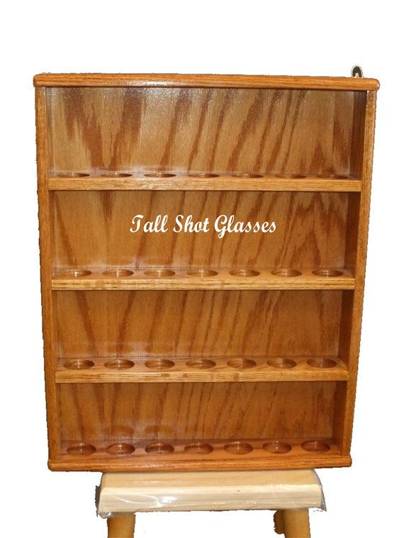 Shot Glass Display Case Holder Wooden Used Holds 42 Glasses