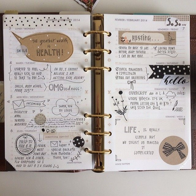 """Feb. 3-9. 2014 This week was a blur due to my horrible flu. This black/white/kraft theme seemed fitting. Drew more doodles than adding stickers. #filofax…"""