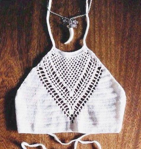 crochet halter crop tops Más