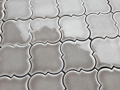 Dove Gray Arabesque Glazed Crackle Mosaic Lantern Tile