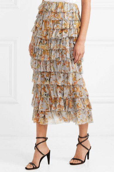 00fb02549 ZIMMERMANN desirable Tiered printed silk-georgette midi skirt ...