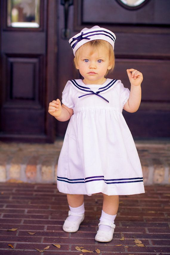 Baby Girl Sailor Dress 3Piece Outfit by HFeatherFashions on Etsy