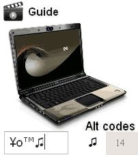 Keyboard symbol codes for Windows PC, Laptop and other computer systems➲