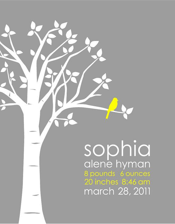 yellow and gray nursery Personalized Custom Baby Name/Birthdate Love Bird by karimachal, $30.00