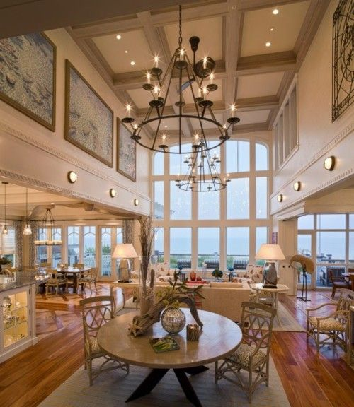 Interior Design Lighting Ideas Jaw Dropping Stunning: The Dramatic Two-story Great Room In This Beach House