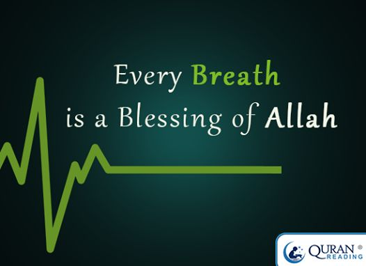 Every breath is a blessing from Allah Subhanahu wa Ta'ala.