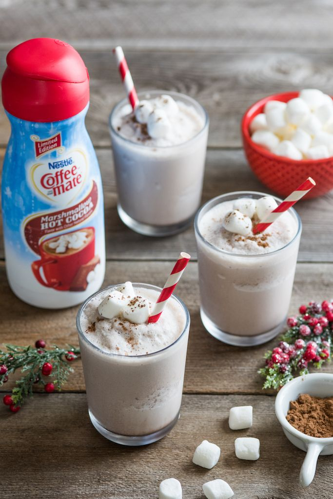 Frozen Marshmallow Hot Cocoa Milk Shake Ingredients 1 cup vanilla light ice cream 1 cup ice cubes ¾ cup fat free milk 3 tablespoons Marshmallow Hot Cocoa Flavored NESTLÉ® COFFEE MATE® Liquid Coffee Creamer 1 ½ teaspoons cocoa powder Directions PLACE...