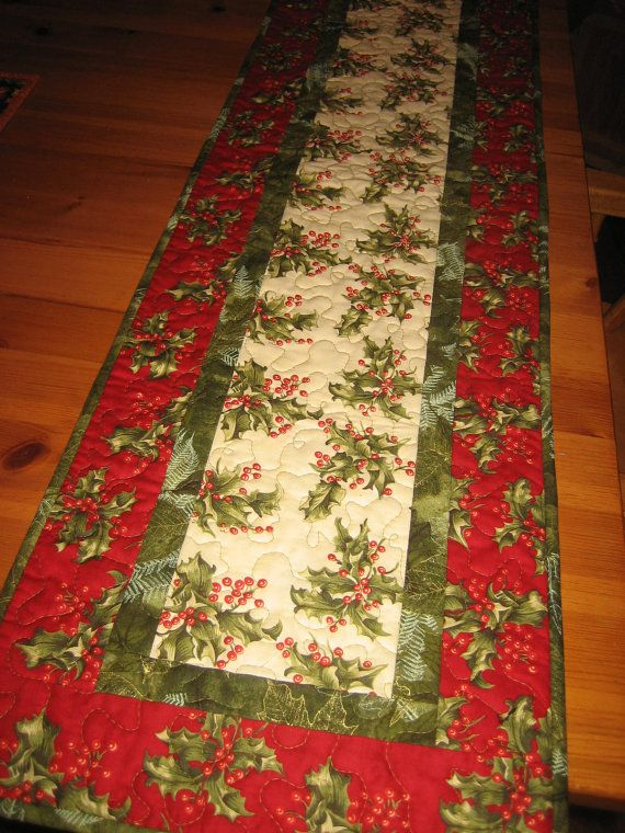 Christmas Table Runner Red Berries and Holly by TahoeQuilts