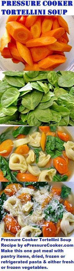 Pressure Cooker Tortellini Soup Recipe by ePressureCooker.com. This hearty one pot meal is quick and easy to make with dried or refrigerated pasta and your choice of either fresh or frozen vegetables. If you're using fresh vegetables, this is also a great recipe to get kids involved in meal preparation: older kids can prepare the carrots, younger kids can do the spinach. Also includes instructions for preparing gluten-free, GMO free, diabetic friendly (lower carb) & freezer meal versions