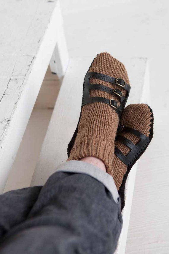 Heren pantoffel sokken Mens Knit Slippers bruin zwarte sandaal sok Mens huis Slippers Mens brei-sokken lederen riemen
