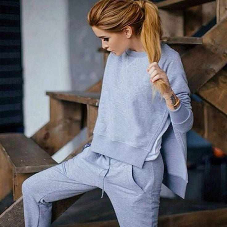 2016 Autumn Winter Women Cotton Tracksuit 2 Piece Set Clothing Solid Sportwear Suit Woman