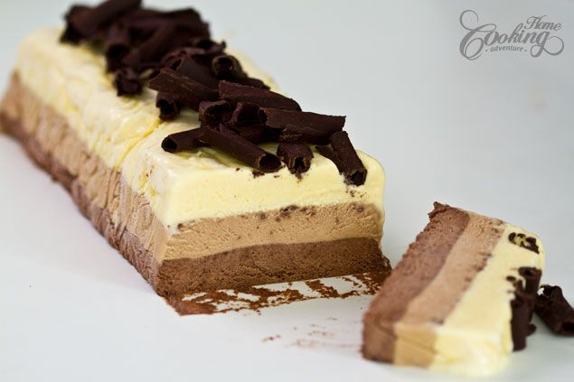 Triple Chocolate Semifreddo -  creamy and chocolaty, not too sweet, with bites of crunchy chocolate curls,  by far one of the best treats for summer days.
