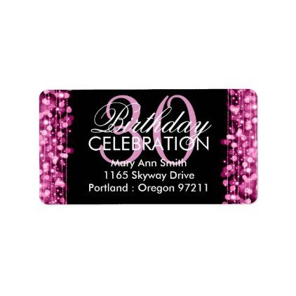 Address 30th Birthday Party Sparkles Pink Label