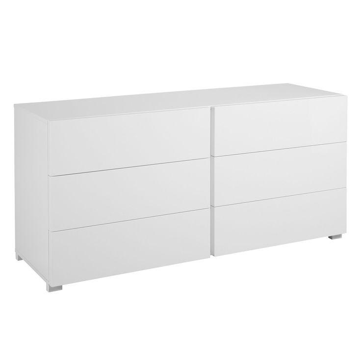 Commode blanc brillant à 6 tiroirs Blanc - Gloss - Les commodes - Les commodes, chiffonniers et coiffeuses - Chambre - Décoration d'intérieur - Alinéa