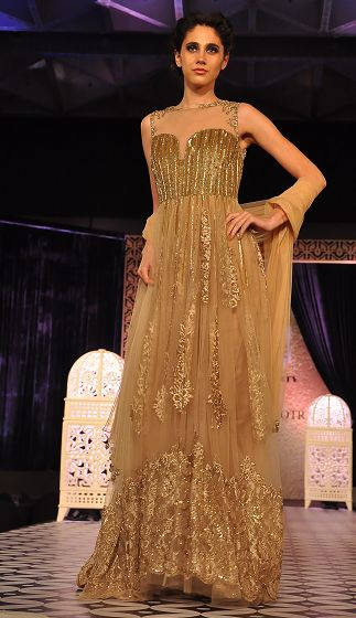 Gold #Embroidered #Gown from Manish Malhotra's Luxe Collection 2014. Available at his flag store in Mumbai & Delhi.