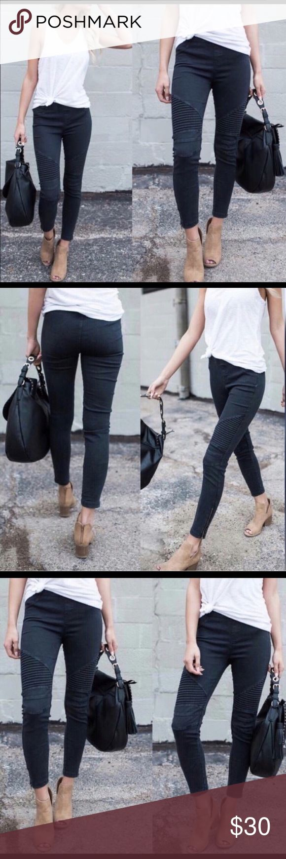 Black Moto Biker Leggings with ankle zip Black biker leggings/pants with ankle zippers, elastic waist, no pockets, thick high quality blend of cotton/nylon/spandex. Pants Leggings