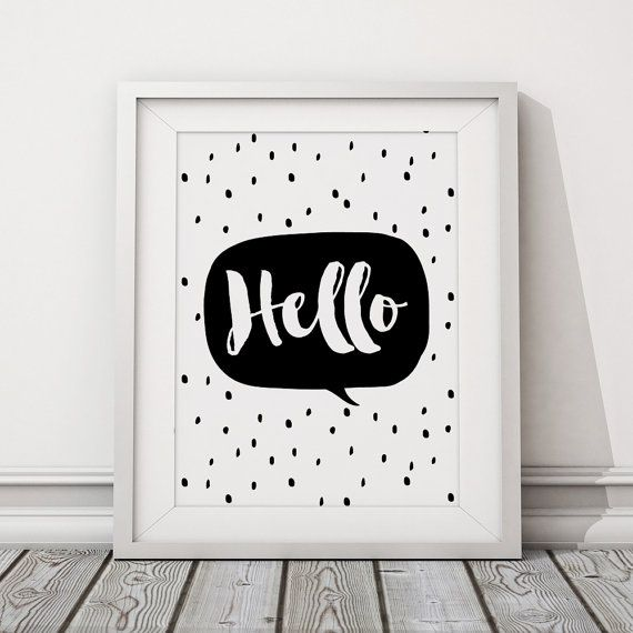 Typography Print Poster Hello Print poster Kids by HappyNursery