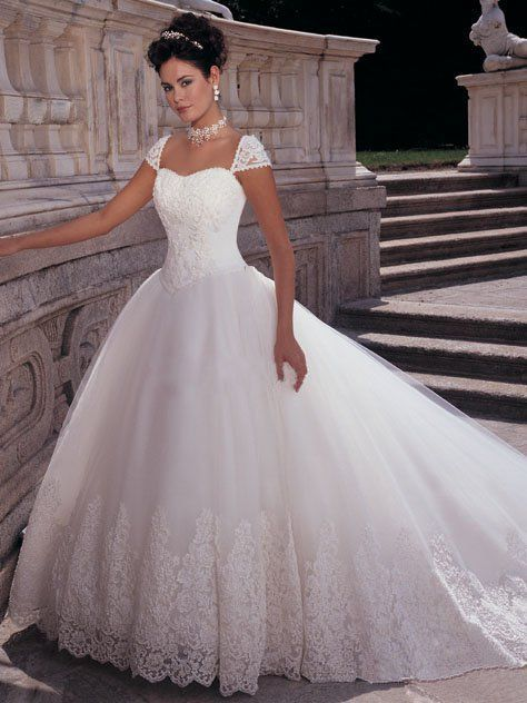 Lovely Cap Sleeves Wedding Dress