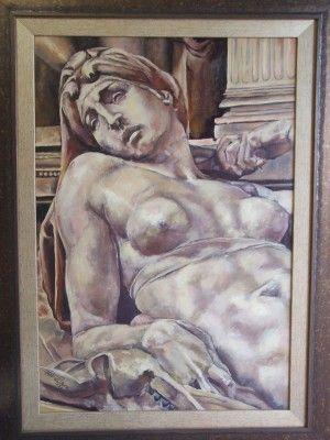 Allegory Of The Dawn, study on Michelangelo. 42cm x 62cm. Oil on canvas board. From Michelangelo's Tomb of Lorenzo de Medici. Phillip Carrero.