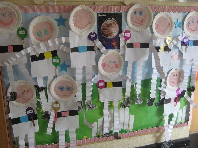 Manualidad astronautas para decorar la clase